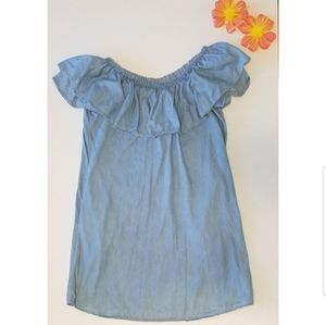 HP!🥳 Girls Chambray Off The Shoulder Ruffle Dress
